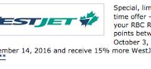 转换RBC奖励积分为西捷航空奖励,可获得15%的美元奖金-加拿大信用卡