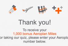 目标:免费1000 Aeroplan Miles小测验-加拿大信用卡